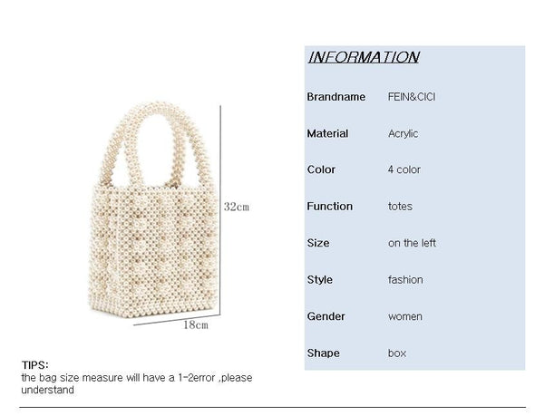 Pearl Bag Beaded Box Totes Bag Women Party Vintage Acrylic Plastic Handbag 2019 Summer Luxury Brand White Yellow Blue