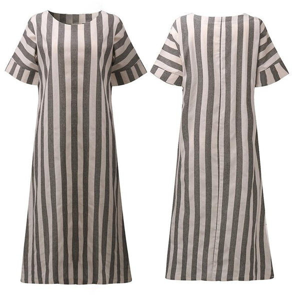 Plus Size Dresses for women 4xl 5xl 2018 spring summer Casual Fashion Short Sleeve Cotton Linen Stripe Loose Long Maxi Dress
