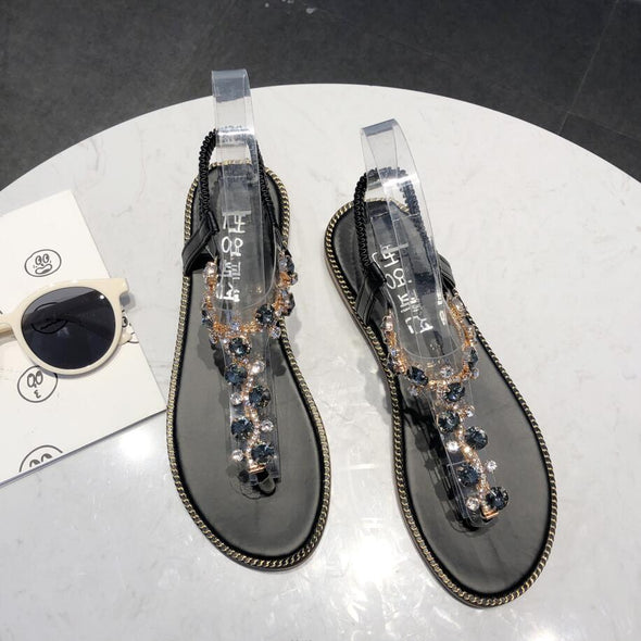 Rhinestone Sandals Women Sandals Fashion Summer Shoes Women Rome Gladiator Casual flats Sandals Beach Shoes Female Zapatos