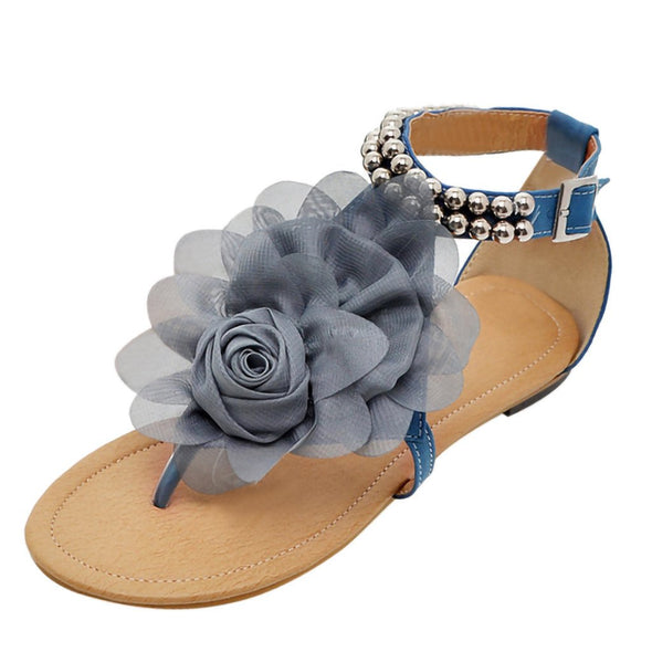 SAGACE Summer Women's Sandals Bohemian Flowers Flat Shoes Belt Buckle Clip Toe Sandals Sexy High Quality Outside Women Shoes