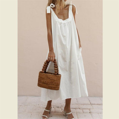 Summer Loose Women Dress 2019 Vintage Sexy Solid Color Beach Dress Sundress Pocket Yellow White Dress Female Dresses Clothings
