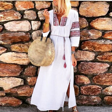 Summer Women's Beach Dress Casual V-neck 3/4 Sleeve Print Bohemian Sunscreen Ethnic Dress Long Maxi Loose Slit Dresses Vestido