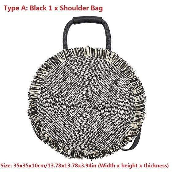 Tassel Handbag Straw Bag for Women Summer New Round Tote High Quality Beach Woven Travel Shoulder Messenger Bags Bolsa femenina
