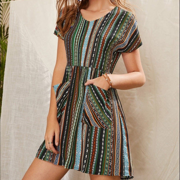 Women Fashion O-Neck Bohemian Style Summer Dresses Short Sleeve Pockets Striped Knee Length Dress Casual Holiday Beach Dress