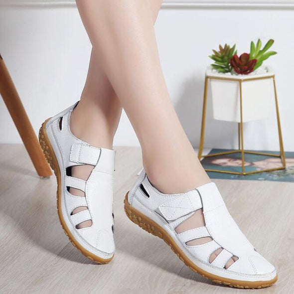 Women Genuine Leather Hollow out Flat Sandal