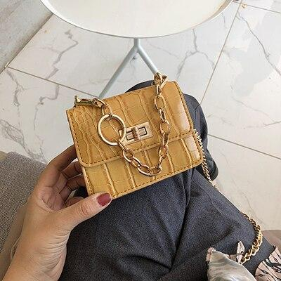 Women Handbag Messenger Bags Stone pattern PU Leather Shoulder Bag Lady Crossbody Mini Bag Female Crown Evening Bags with chain
