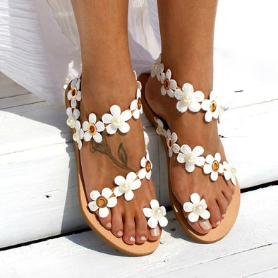 Women Elegant  Flowers Beach Sandals