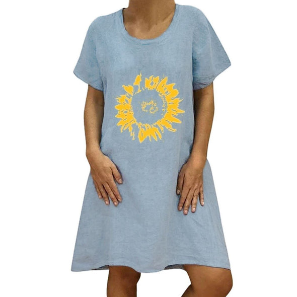 Women Summer Loose Bohemian Dress Sunflower Print Short Sleeve Vestidos Casual Daily Holiday Vocation Beach Casual Mini Dress