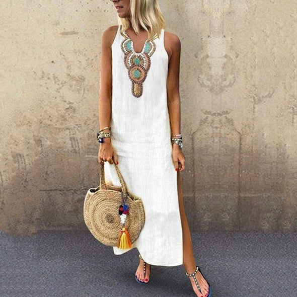Women's Printed Sleeveless V-neck Maxi Dress Split Hem Baggy Kaftan Long Dress Casual Long girl Tops Dress