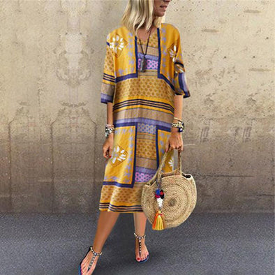 Women's Vintage Printed summer dress Short Sleeve V-neck Hem Baggy Kaftan Holiday beach Sundress Boho vestidos de verano 2019