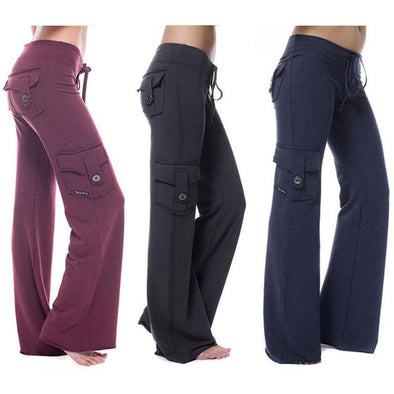 Yoga Pants Outdoor Highly Elastic Pants Womens Pocket Straight Jogging Sportswear