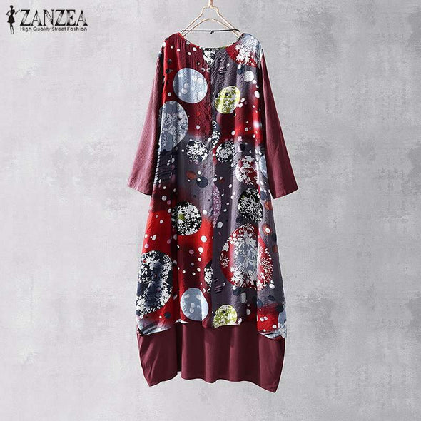 ZANZEA Women Bohemian Floral Print Midi Dress 2019 Summer Sundress Casual Fate Two Pieces Vestidos Ladies Beach Party Robe Femme