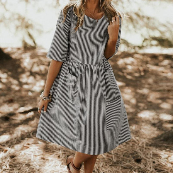 Women Summer Elegant O Neck Half Sleeve Pockets Loose Party Vestido Casual Baggy Work Striped Dress Sundress Oversized