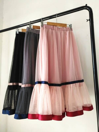 Women's Clothing 2018 Summer Skirt Sweet Color Matching Skirt Women's High Waist A Word Skirt  Skirts Womens