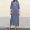 Womens Summer Bohemia Striped Beach Dress Evening Cocktail Long Maxi Cotton Sundress