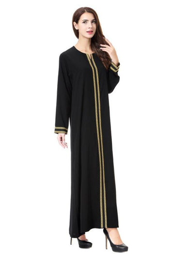 Womens Muslim Kaftan Abaya Round Neck Maxi Dress