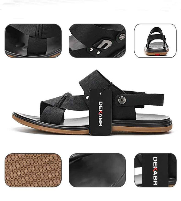 Men Genuine Leather Sandals Summer Wading Beach Shoes Handmade Slippers Leather Casual Shoes Flip Flops Plus Size 36~47