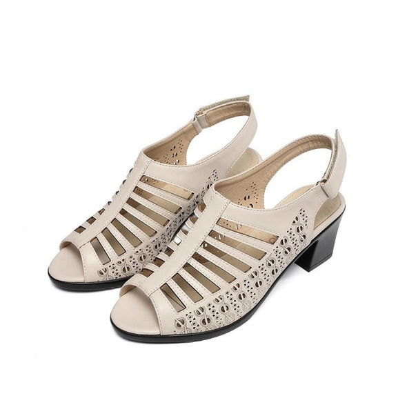 Women Hollow Buckled Genuine Leather Sandals