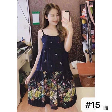 Ladies Spaghetti Strap Printed Cotton Dress