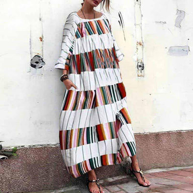 Women Long Maxi Dress Casual Strip Printed Dresses O Neck Pockets Bohemian Sundress Vintage Vestidos Plus Size Robe