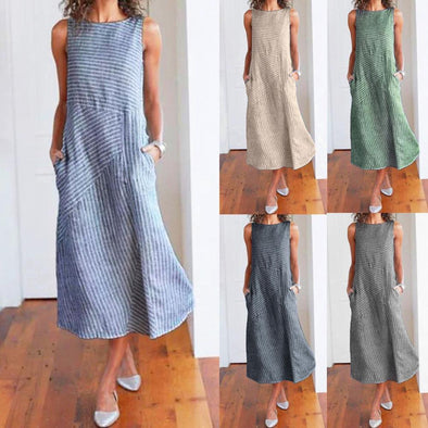 【Buy 2 get 20% Discount‼️】Fashion Simple Sweet Women Casual Striped Sleeveless Dress Crew Neck Linen Pocket Long Dress Vestidos