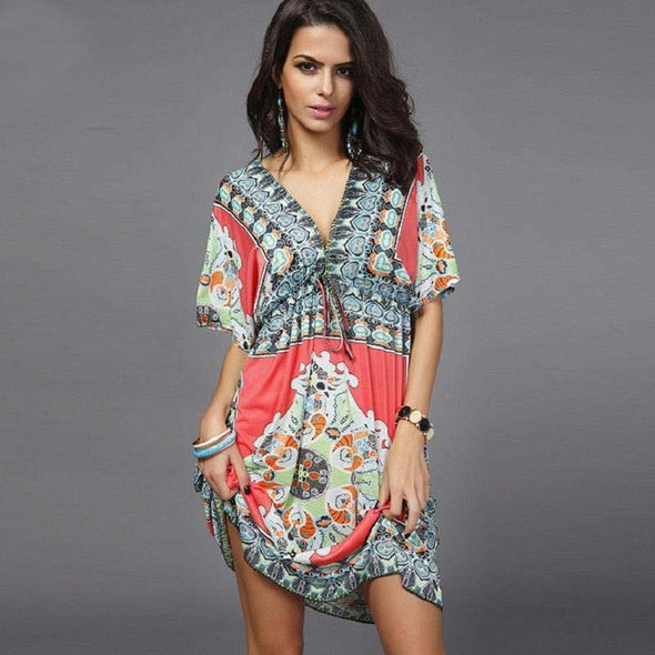 Boho Style 2019 Summer Women Dress Sexy Sundresses Deep V Ethnic Floral Print Tunic Beach Dresses Plus Size Casual Silk Dresses