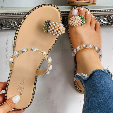 Ladies Sandals Summer Casual Sandals Women's Flat Toe Pineapple Pearl Bohemian Casual Shoes Flat with Beach Sandal Slippers