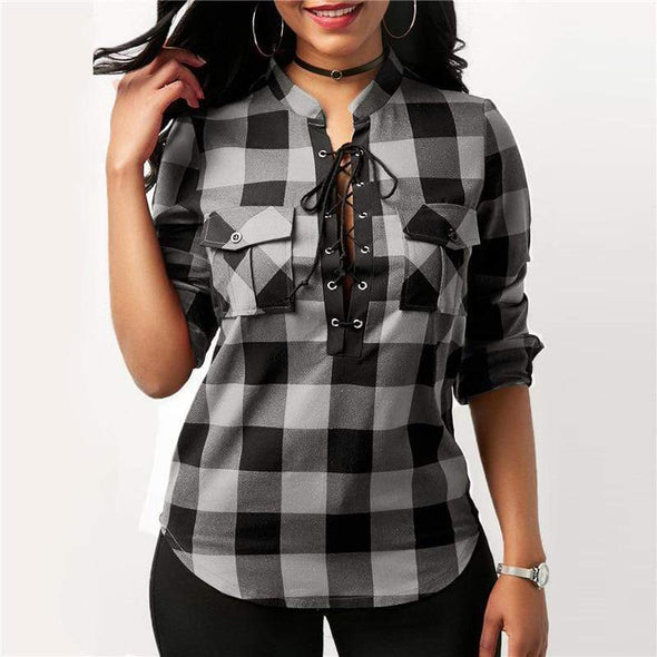 Women Long Sleeve Plaid Shirts