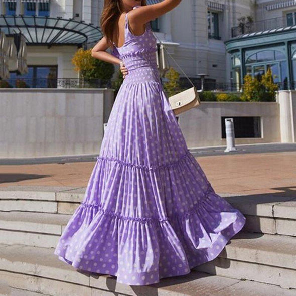 women summer dress sleeveless sexy ruffle blue purple dot fashion maxi dresses elastic waist robe femme