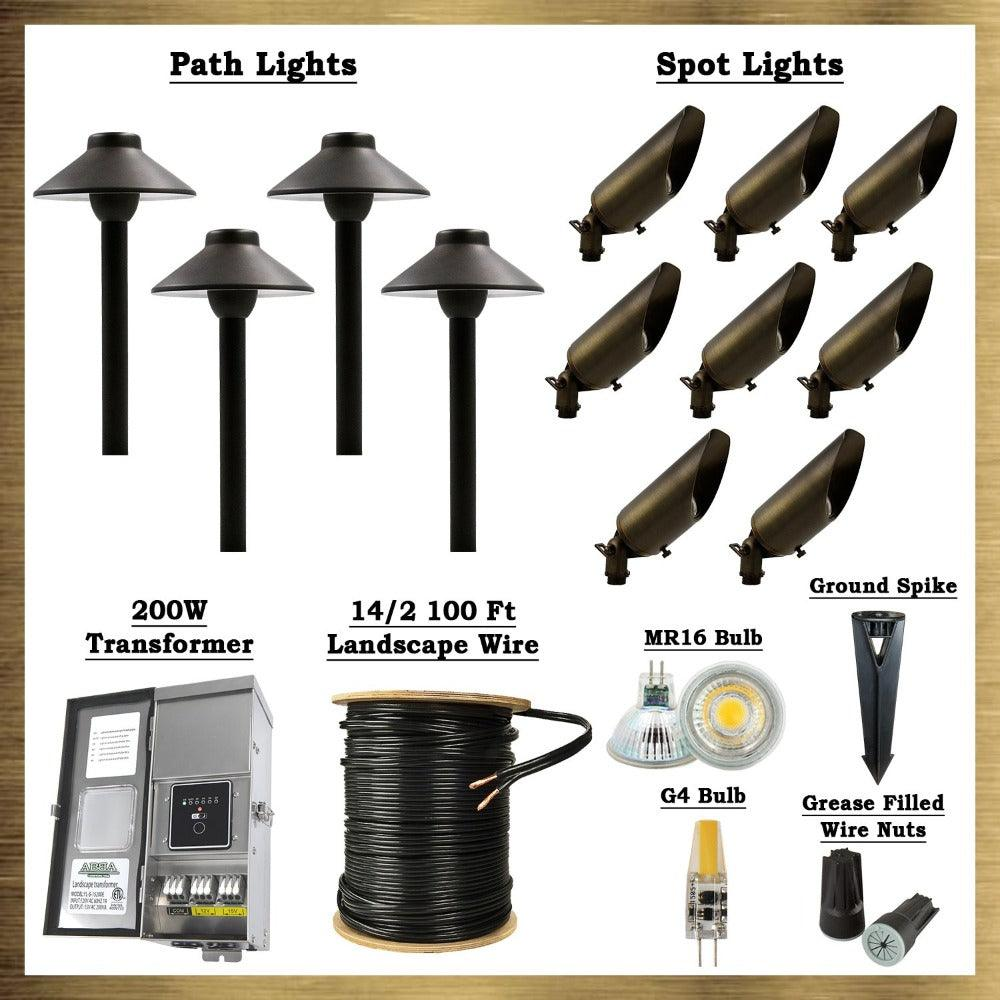 Dark Brass LED Connoisseur Kit: (8) SPB04 Spot Lights, (4) PLB02 Path Lights