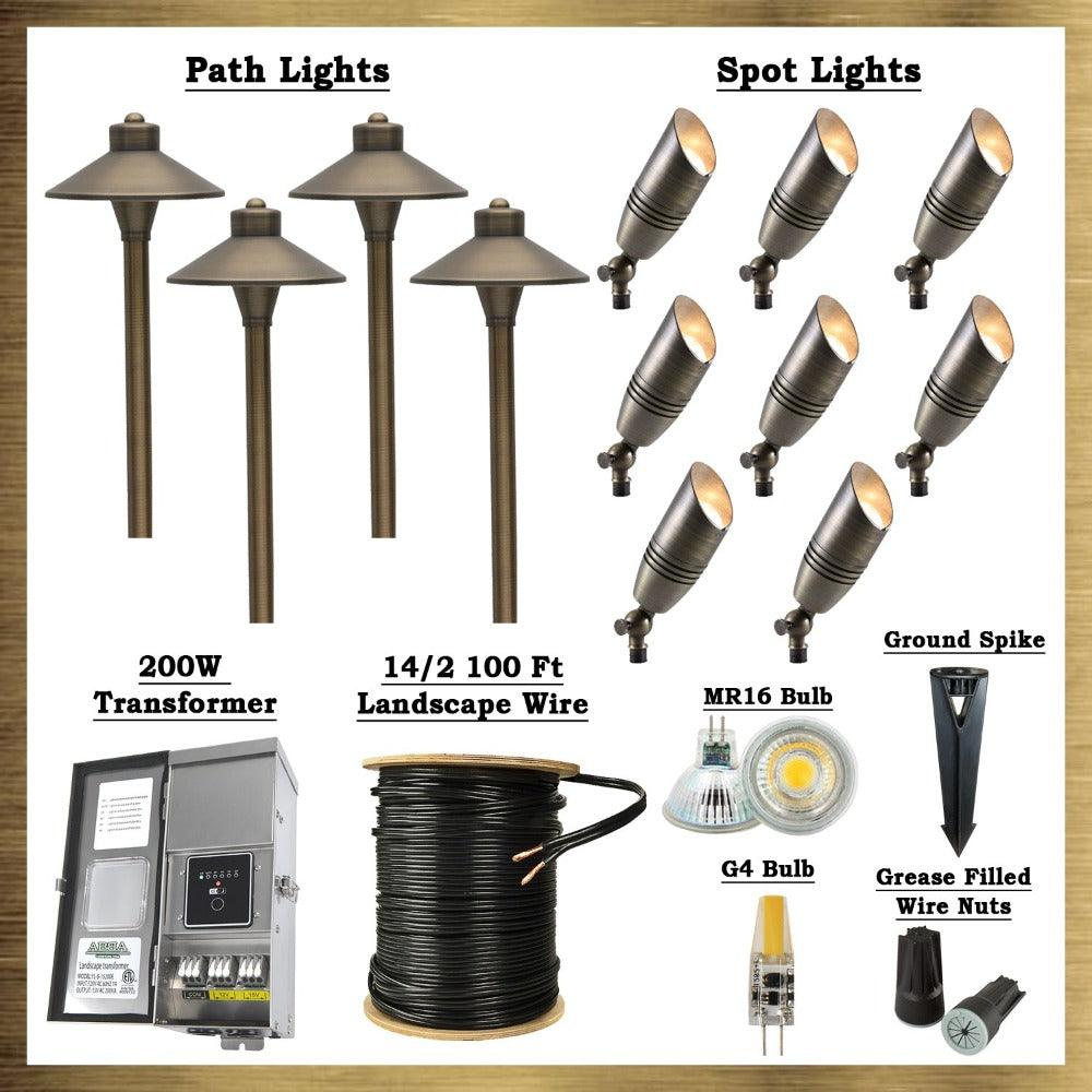Natural Brass LED Connoisseur Kit: (8) SPB06 Spot Lights, (4) PLB03 Path Lights