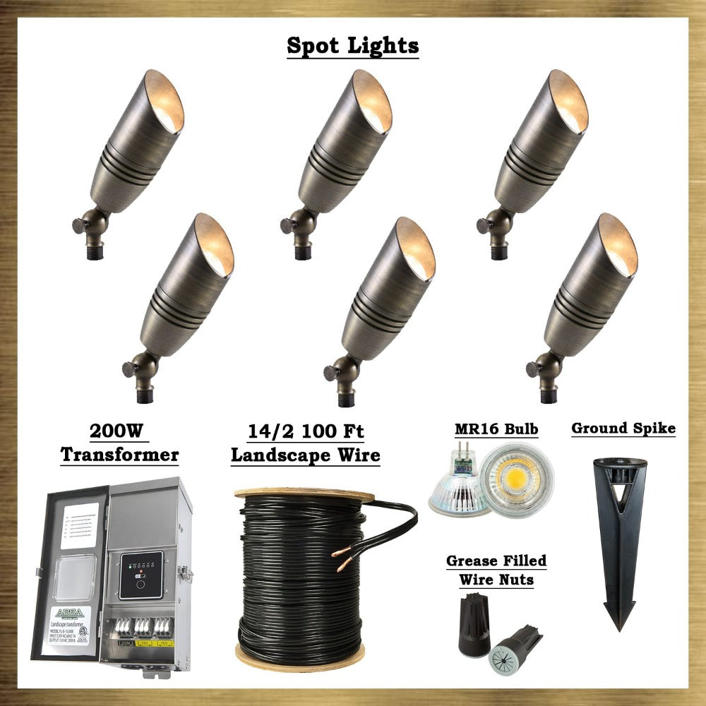 Brass LED Spot Light Kit: (6) Brass Spotlights, All Necessary Components