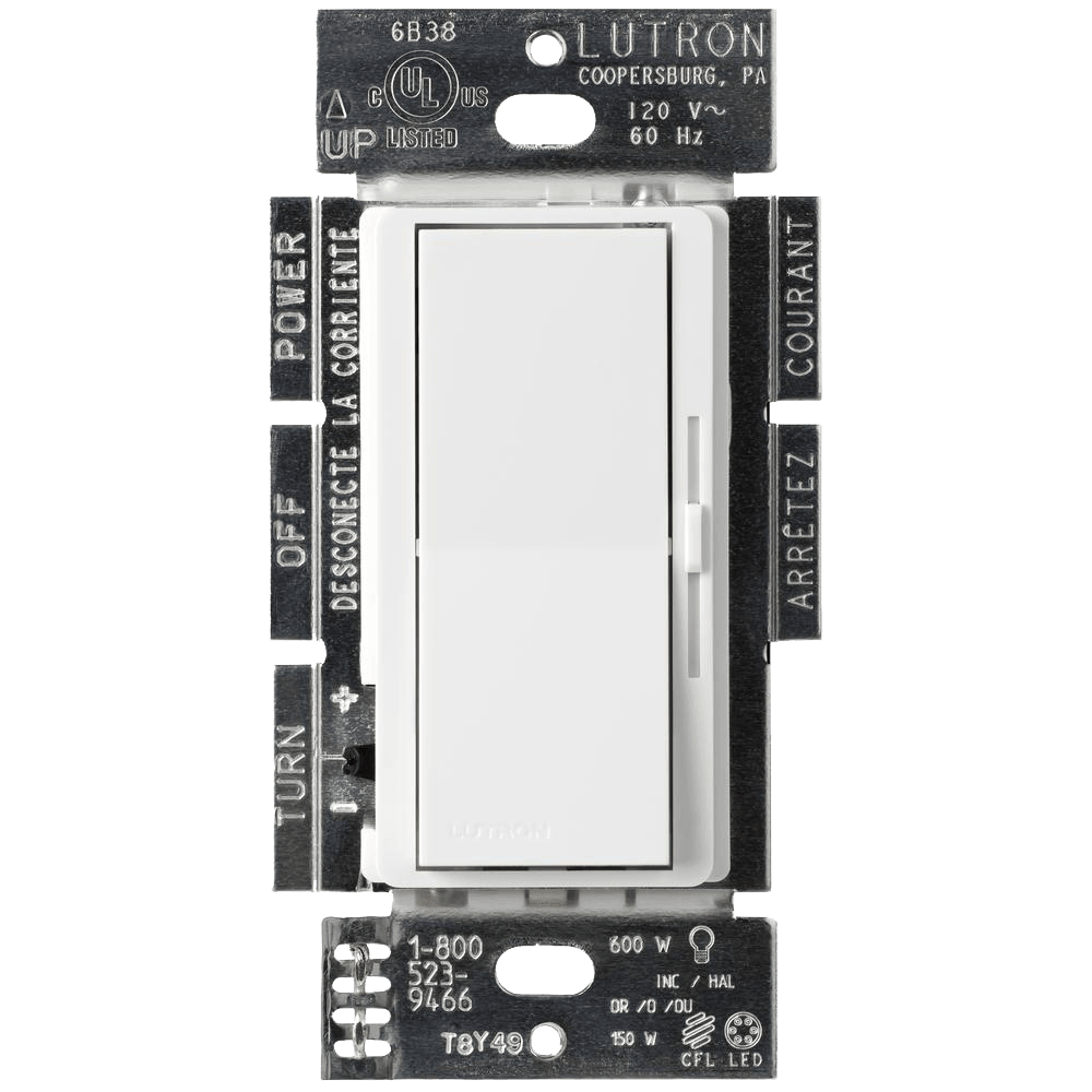 Lutron Diva C.L Dimmer Switch for Dimmable LED, Halogen and Incandescent Bulbs, Single-Pole or 3-Way, White