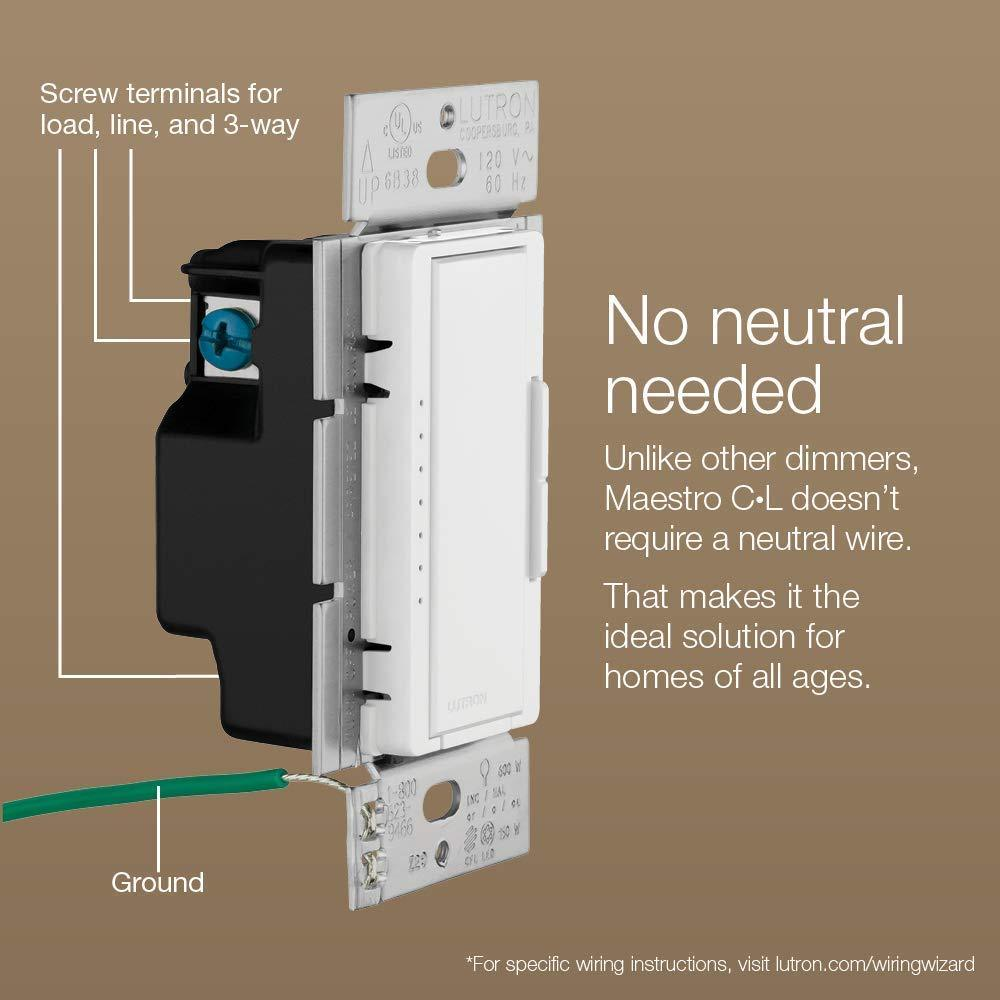 lutron maestro wiring diagram lutron maestro c l dimmer switch macl 153m wh  white     kings  lutron maestro c l dimmer switch macl