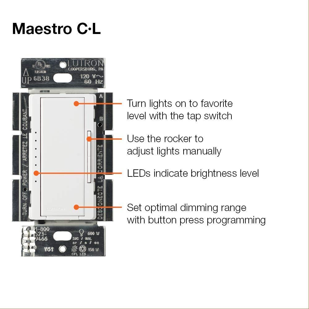 Lutron Maestro C L Dimmer Switch MACL-153M-WH, White – Kings