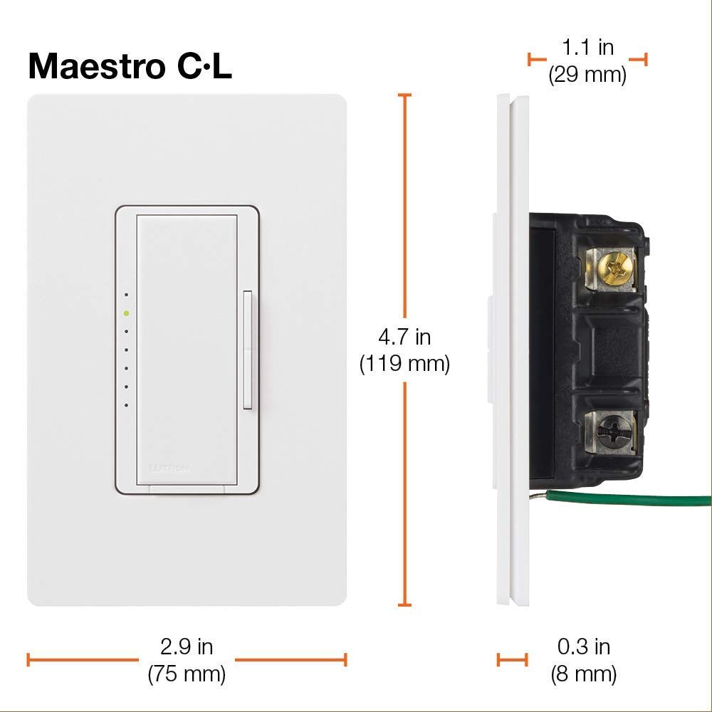 Lutron Maestro C.L Dimmer Switch MACL-153M-WH, White