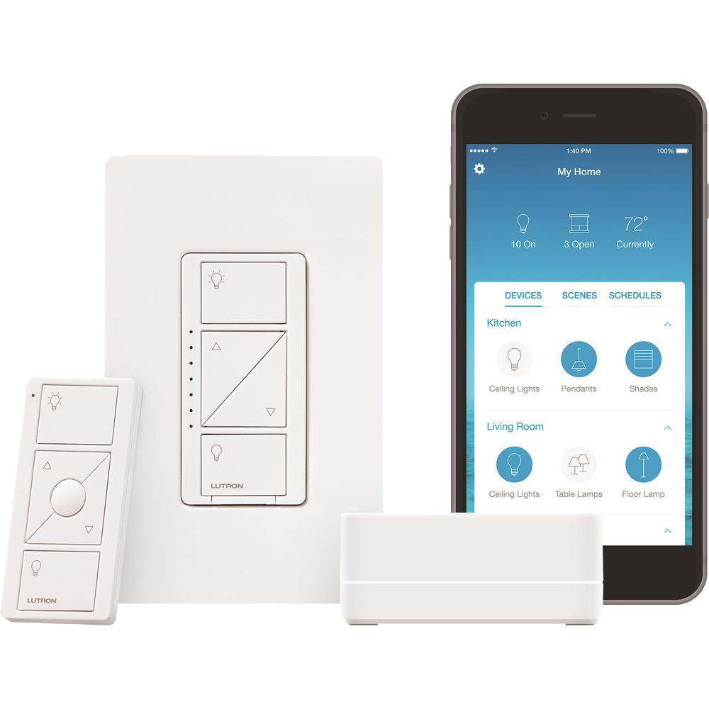 Lutron Caseta Wireless Smart Lighting Dimmer Switch with Smart Bridge Starter Kit
