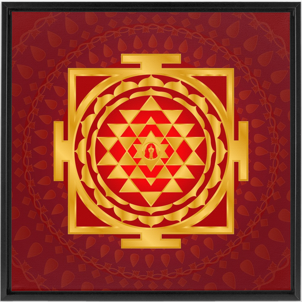 Shri Yantra Framed Canvas Red