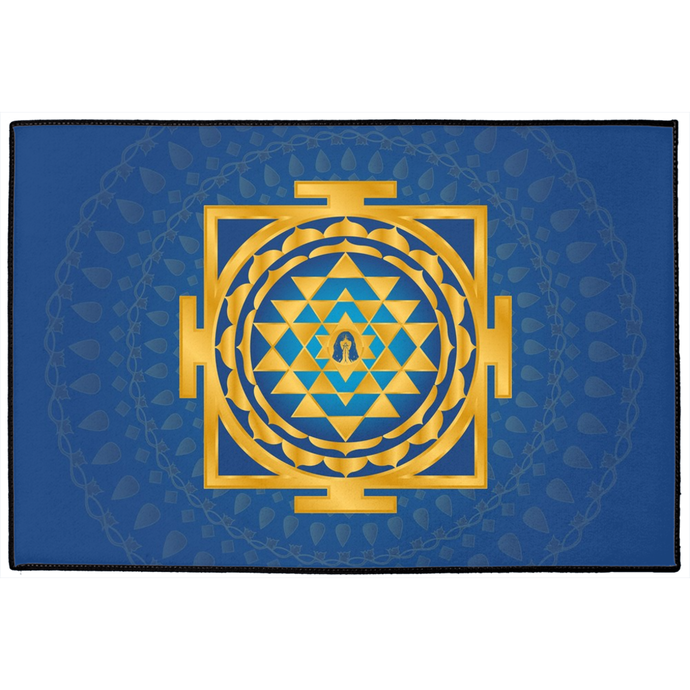 Shri Yantra Door Mat Blue