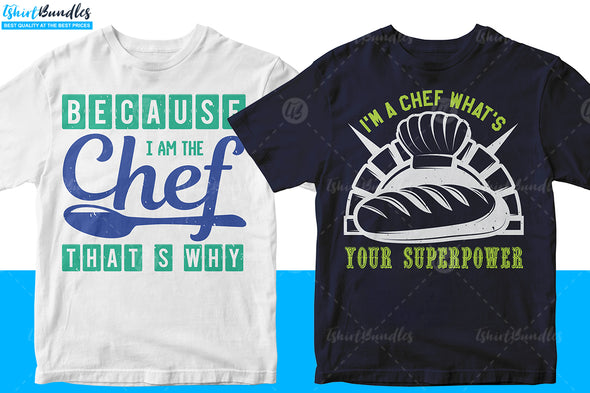 50 Editable Chef T-shirt design Bundle