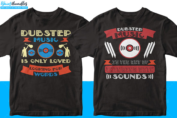 50 Editable Dubstep Music T-shirt Design Bundle