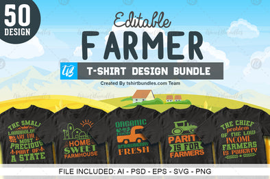 50 Editable Farmer T-shirt design | Tshirtbundles