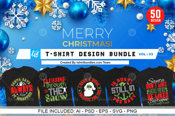 50 Editable Christmas T-shirt Design Bundle Vol-2 | Tshirtbundles