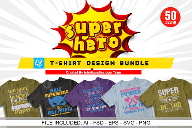 50 Editable Superheroes T-shirt Design Bundle Vol-1