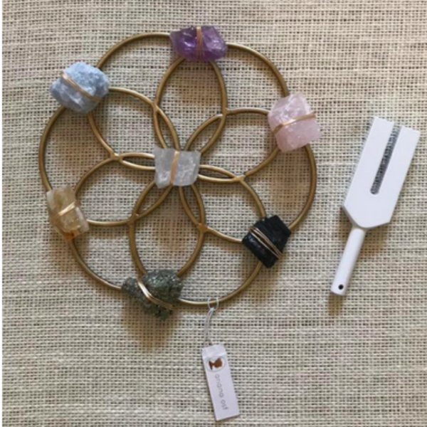 Attune -  Sound Healing Crystal Kit - Crystal Grid and Tuning Fork Set