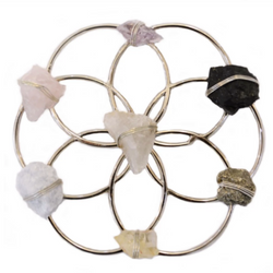 Small Flower of Life Healing Crystal Grid - Silver