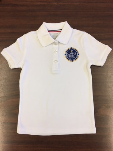 Short Sleeve Girls Polo - White