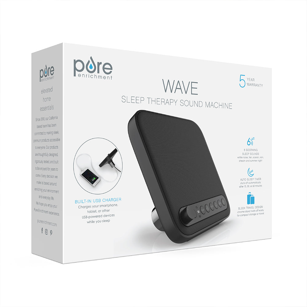 Load image into Gallery viewer, WAVE™ Premium Sleep Therapy Sound Machine in Black | Pure Enrichment®