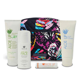 Vera Bradley Medium Cosmetic Bag + Aloe Up Spa Kit