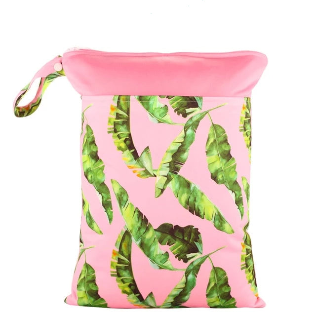 Pink Leaves Wet Bag